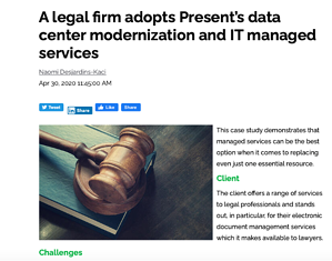 a legal firm adopts Presents data center modernization and IT managed Services